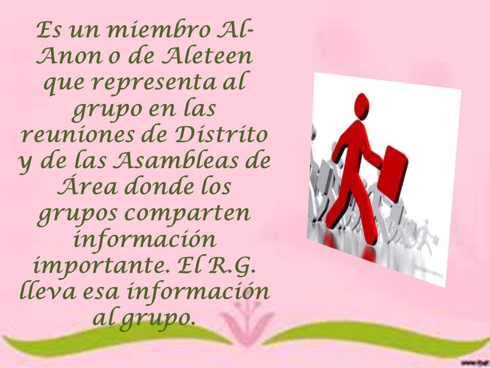 Es un miembro Al-Anon o de Aleteen que representa al grupo en las reuniones de Distrito y de las Asambleas de Área donde los grupos comparten información importante.