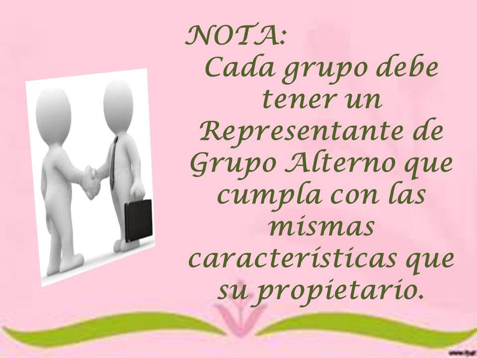NOTA: Cada grupo debe tener un Representante de Grupo Alterno que cumpla con las mismas características que su propietario.
