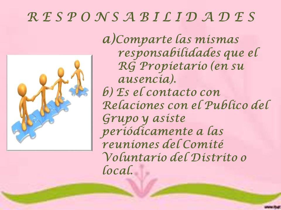 R E S P O N S A B I L I D A D E S a)Comparte las mismas responsabilidades que el RG Propietario (en su ausencia).