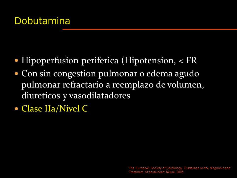 Dobutamina Hipoperfusion periferica (Hipotension, < FR