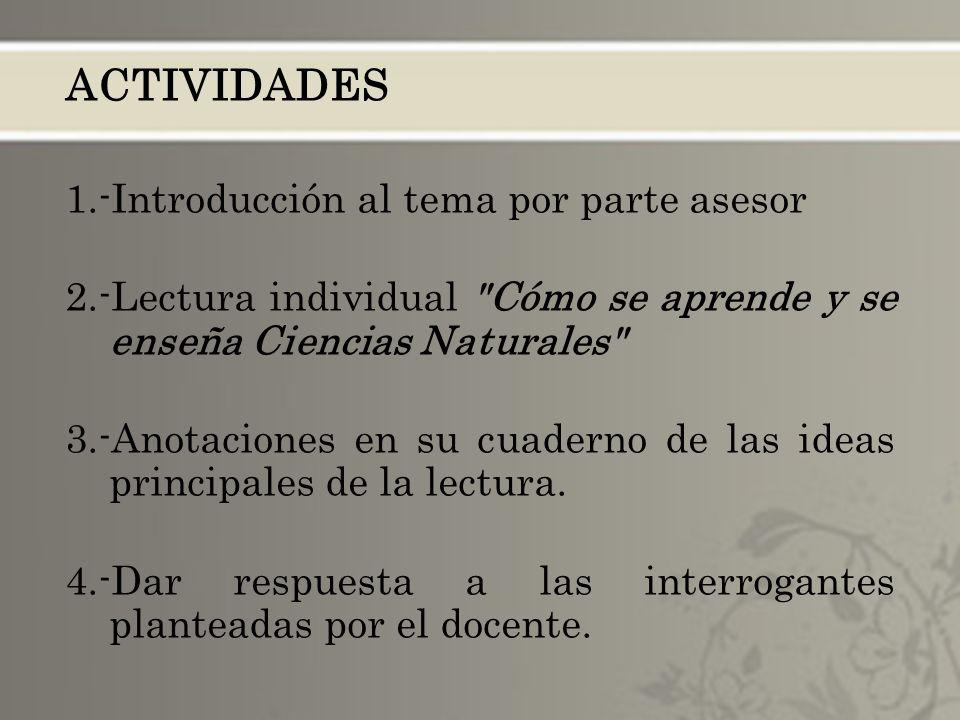 ACTIVIDADES 1.-Introducción al tema por parte asesor