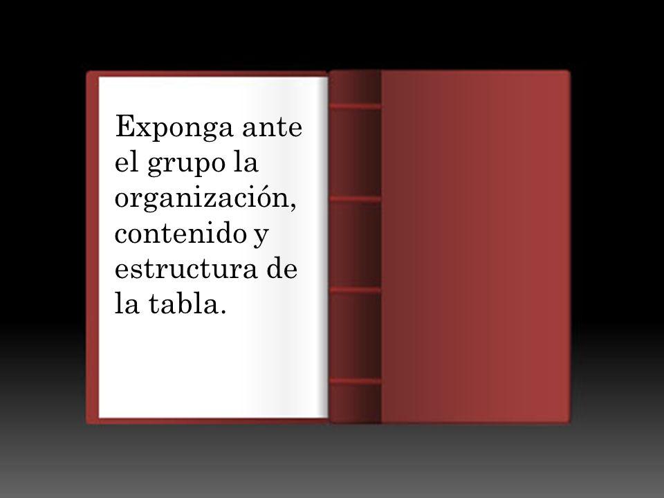 Exponga ante el grupo la organización, contenido y estructura de la tabla.