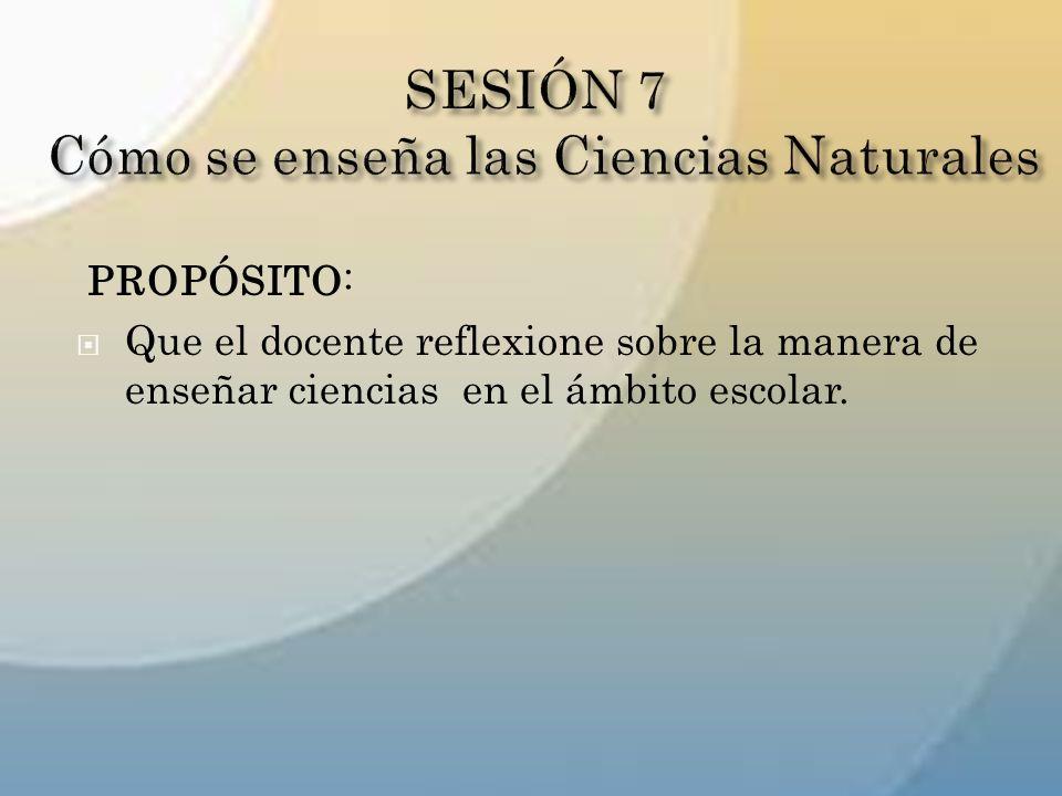 SESIÓN 7 Cómo se enseña las Ciencias Naturales