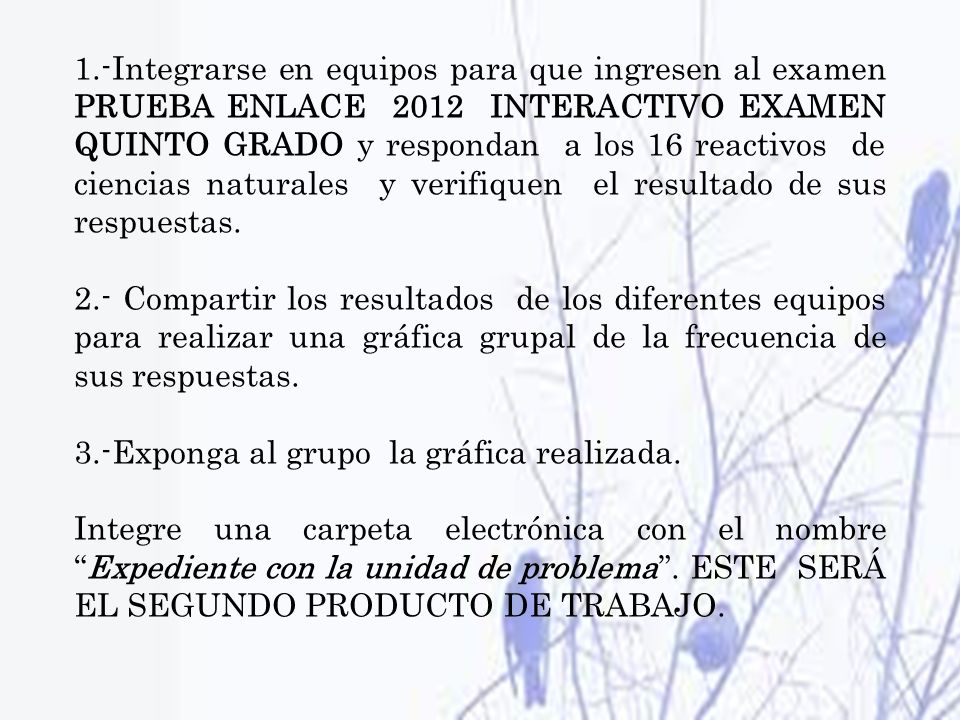 1.-Integrarse en equipos para que ingresen al examen PRUEBA ENLACE 2012 INTERACTIVO EXAMEN QUINTO GRADO y respondan a los 16 reactivos de ciencias naturales y verifiquen el resultado de sus respuestas.