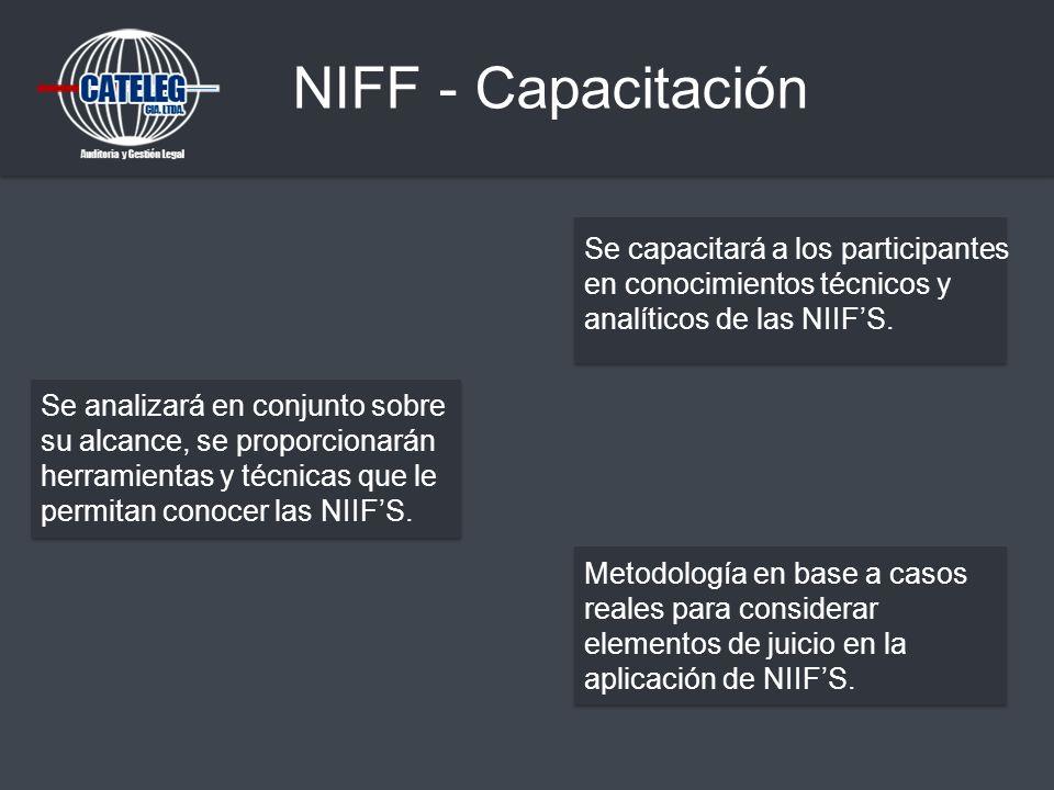 NIFF - Capacitación Se capacitará a los participantes en conocimientos técnicos y analíticos de las NIIF'S.