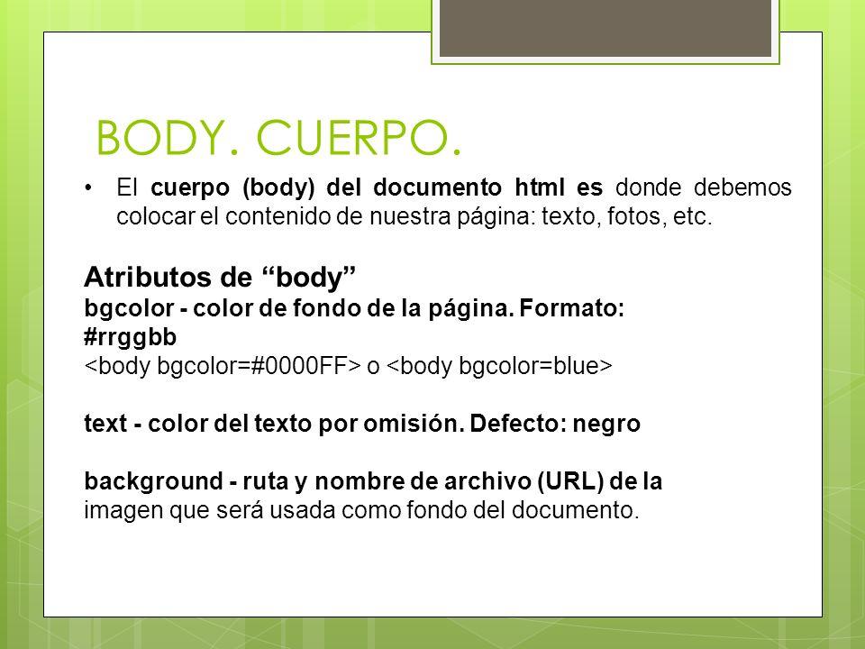 BODY. CUERPO. Atributos de body