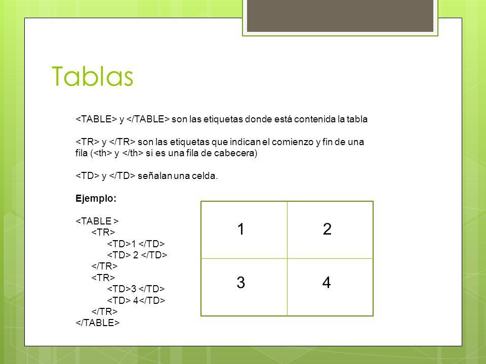 Tablas <TABLE> y </TABLE> son las etiquetas donde está contenida la tabla. <TR> y </TR> son las etiquetas que indican el comienzo y fin de una.