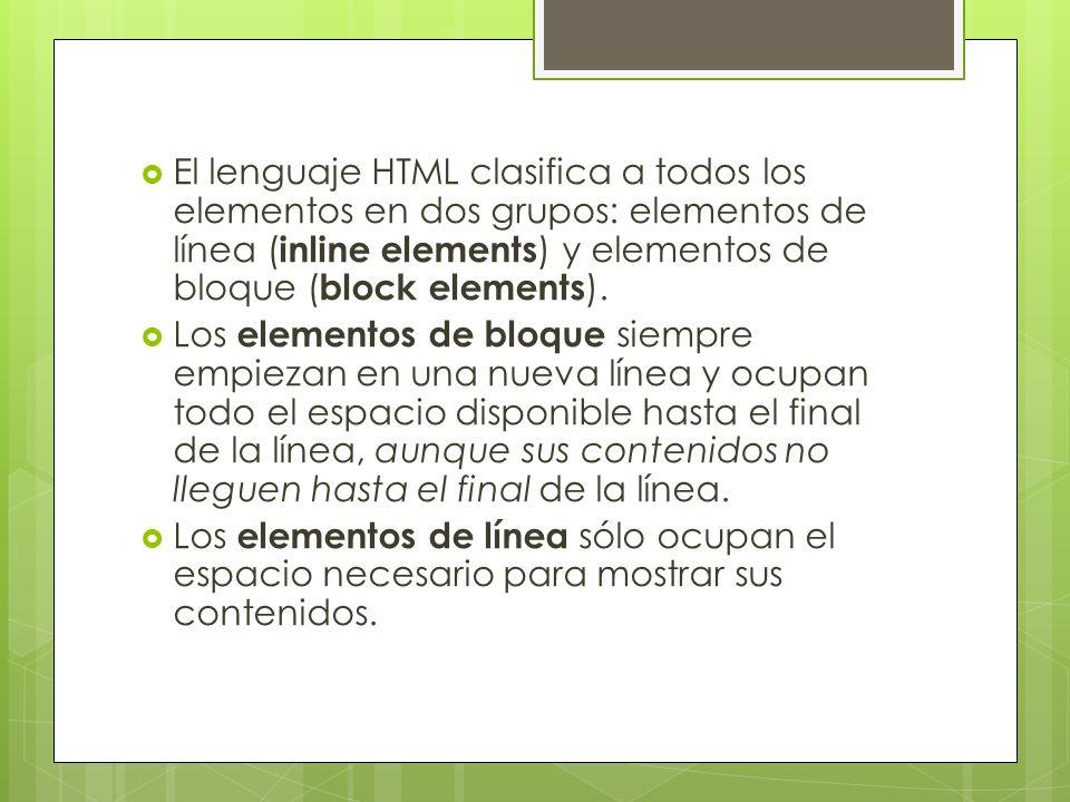 El lenguaje HTML clasifica a todos los elementos en dos grupos: elementos de línea (inline elements) y elementos de bloque (block elements).