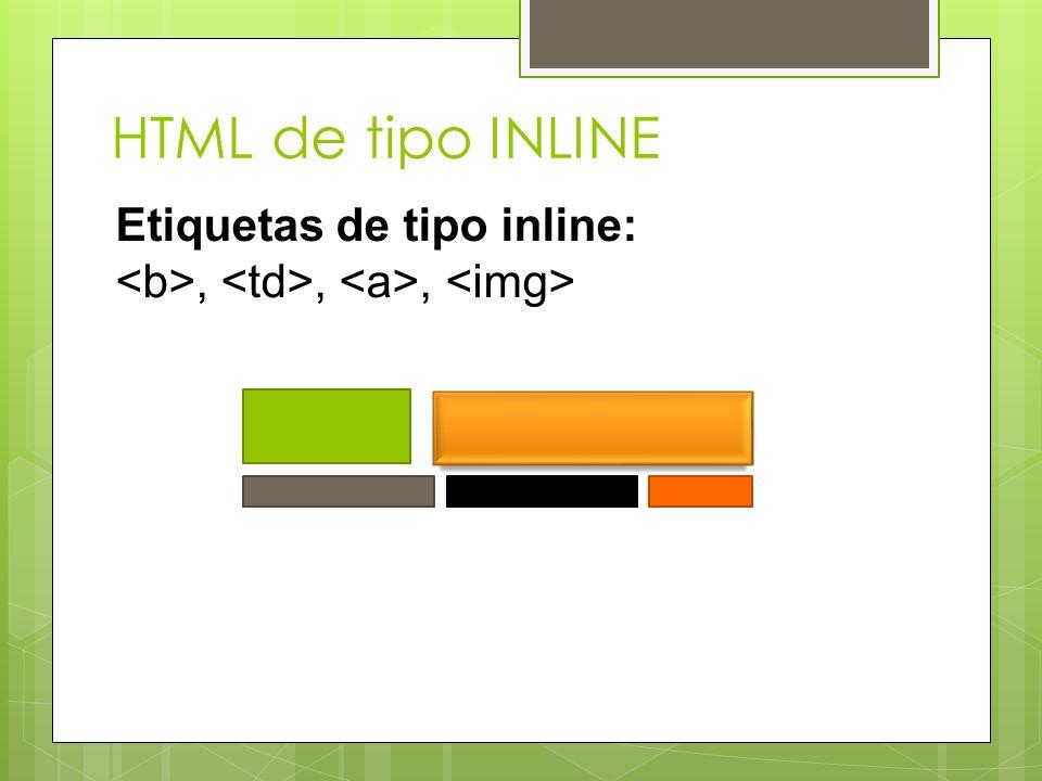 HTML de tipo INLINE Etiquetas de tipo inline: