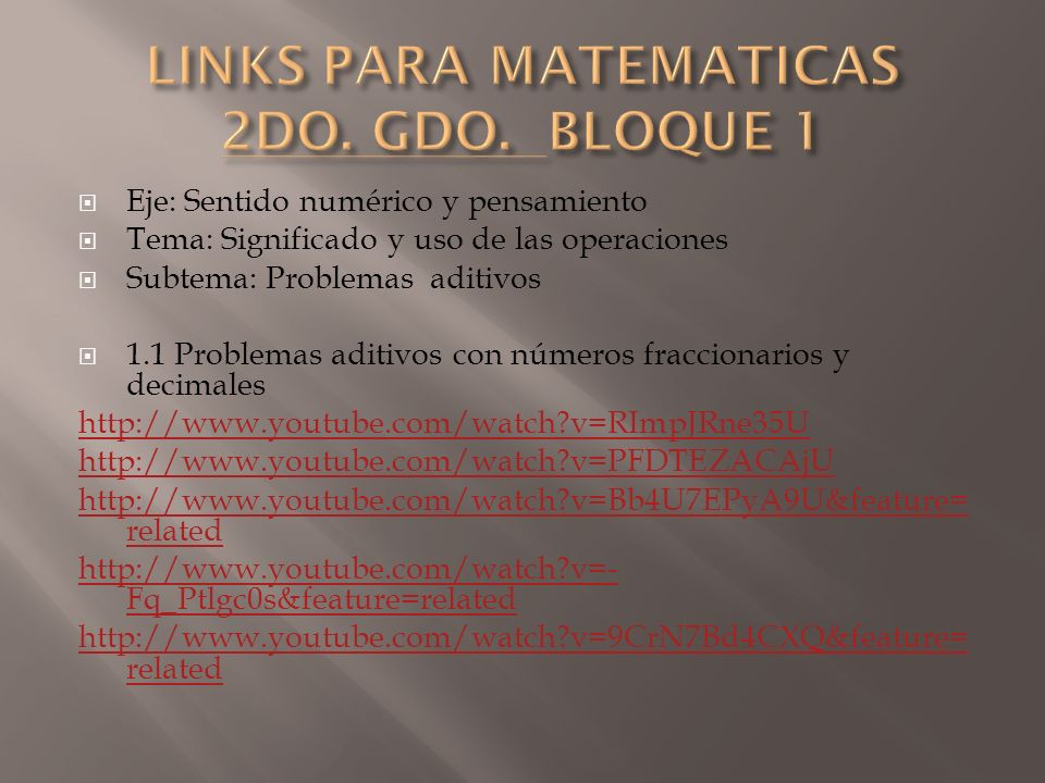 LINKS PARA MATEMATICAS 2DO. GDO. BLOQUE 1