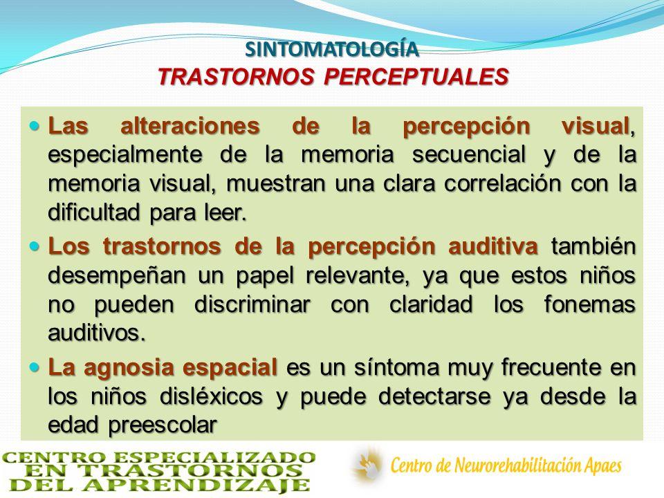 SINTOMATOLOGÍA TRASTORNOS PERCEPTUALES