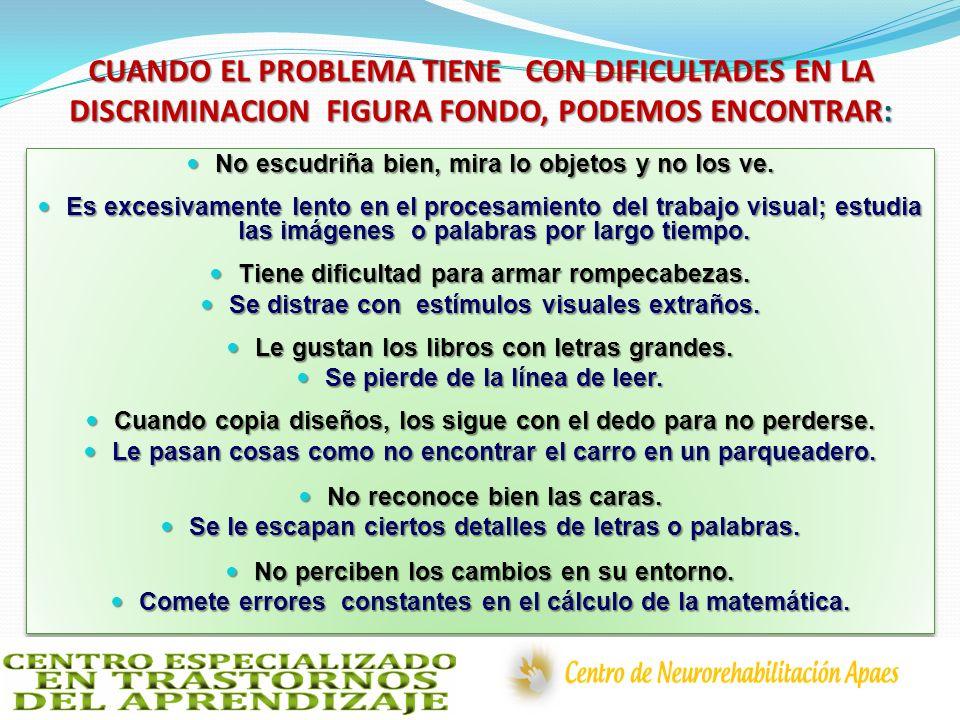 CUANDO EL PROBLEMA TIENE CON DIFICULTADES EN LA DISCRIMINACION FIGURA FONDO, PODEMOS ENCONTRAR: