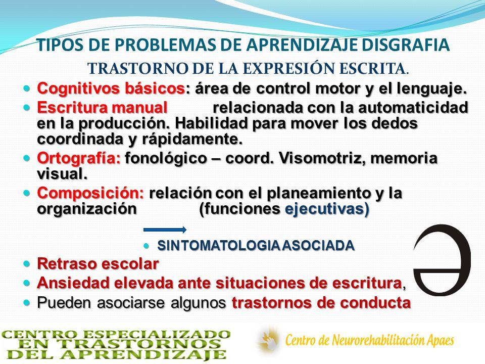 TIPOS DE PROBLEMAS DE APRENDIZAJE DISGRAFIA
