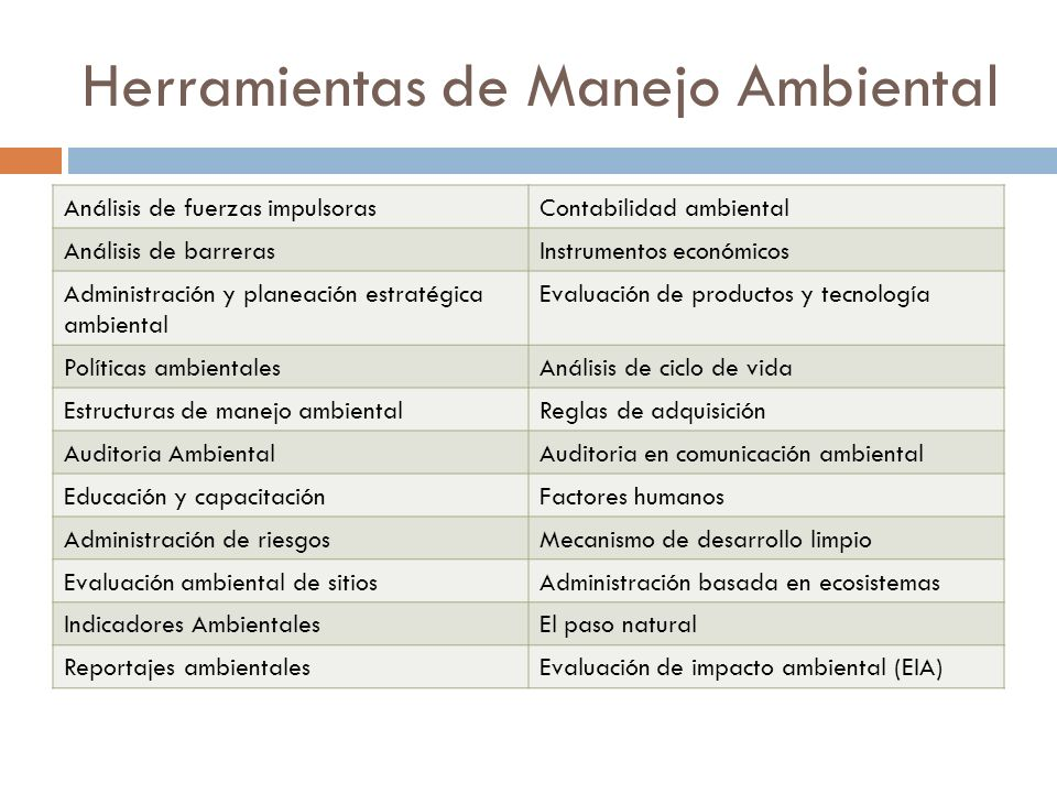 Herramientas de Manejo Ambiental