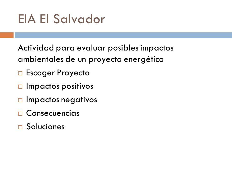 EIA El Salvador Actividad para evaluar posibles impactos ambientales de un proyecto energético. Escoger Proyecto.