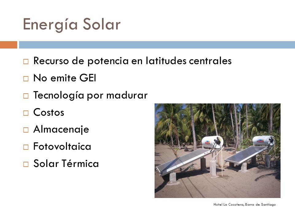 Energía Solar Recurso de potencia en latitudes centrales No emite GEI