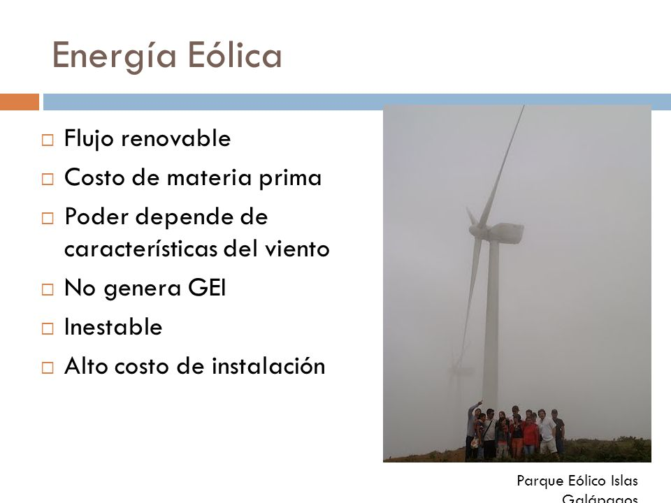 Energía Eólica Flujo renovable Costo de materia prima