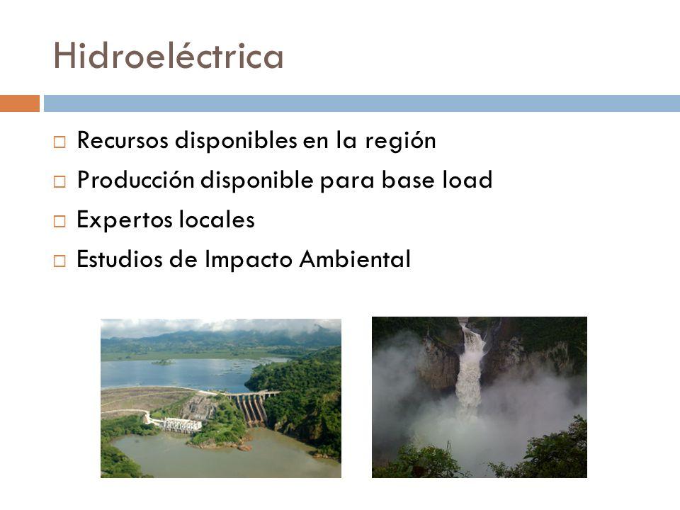 Hidroeléctrica Recursos disponibles en la región