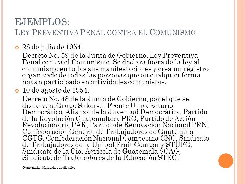 EJEMPLOS: Ley Preventiva Penal contra el Comunismo