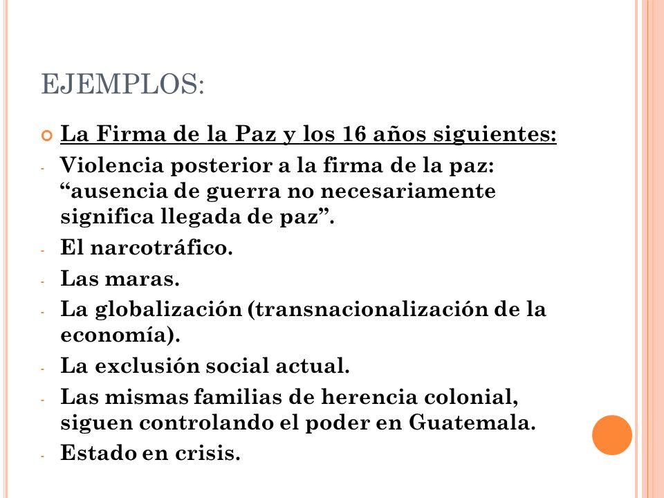 EJEMPLOS: La Firma de la Paz y los 16 años siguientes: