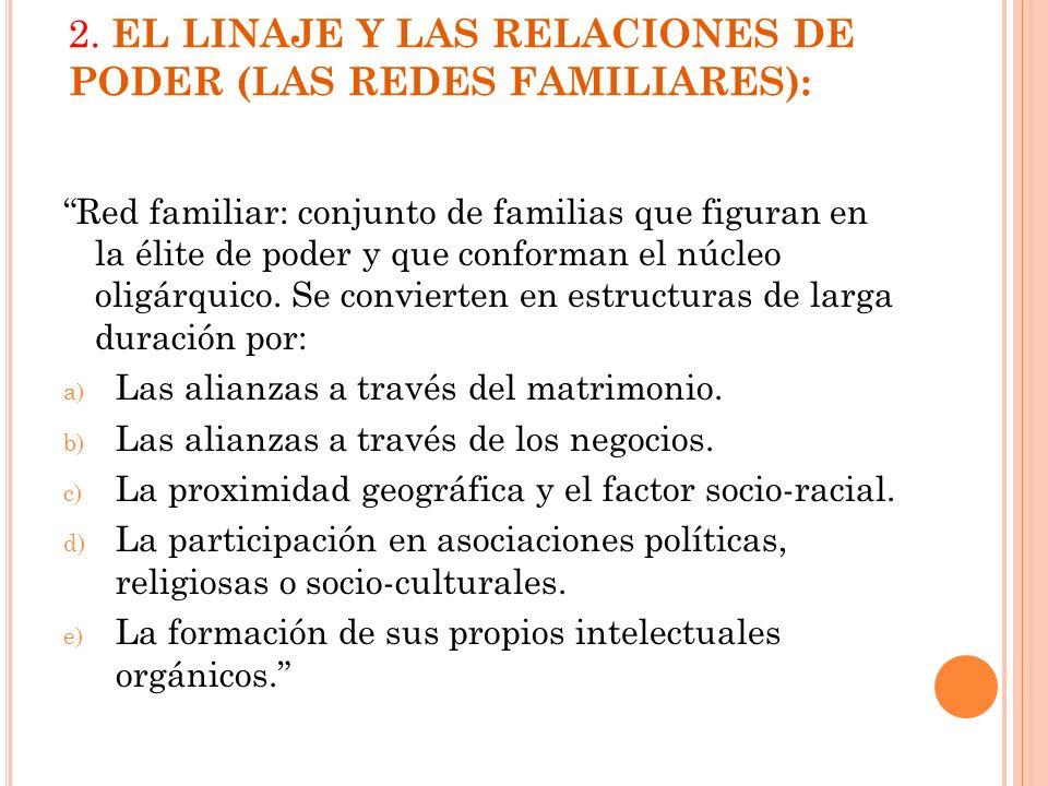 2. EL LINAJE Y LAS RELACIONES DE PODER (LAS REDES FAMILIARES):