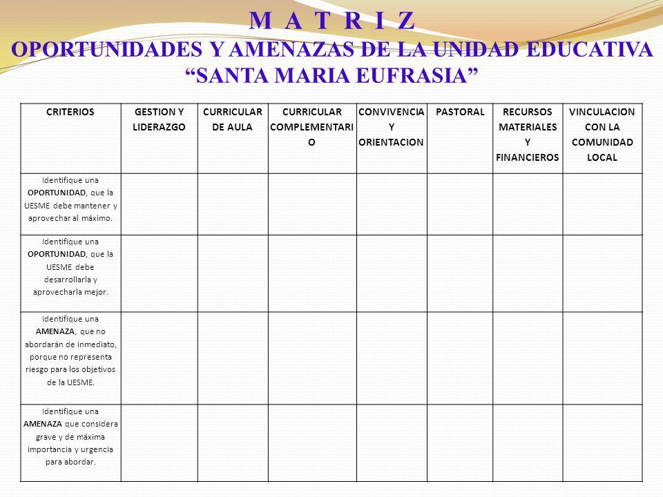 M A T R I Z OPORTUNIDADES Y AMENAZAS DE LA UNIDAD EDUCATIVA SANTA MARIA EUFRASIA CRITERIOS.