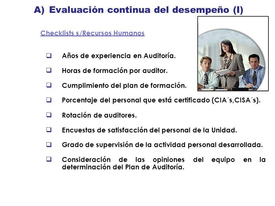 A) Evaluación continua del desempeño (I)