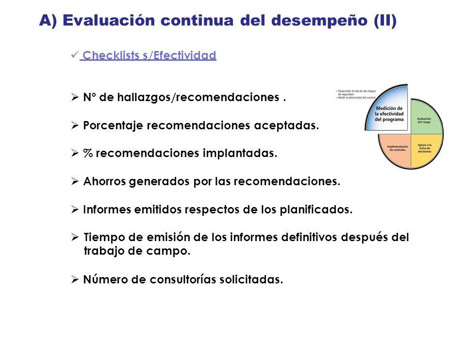 A) Evaluación continua del desempeño (II)