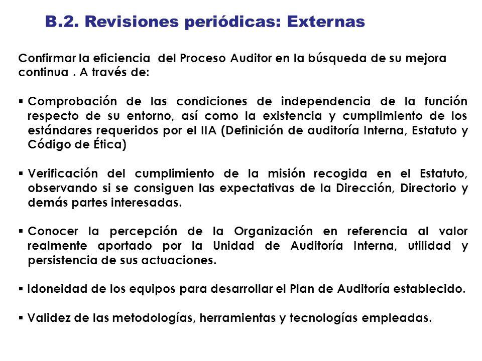 B.2. Revisiones periódicas: Externas