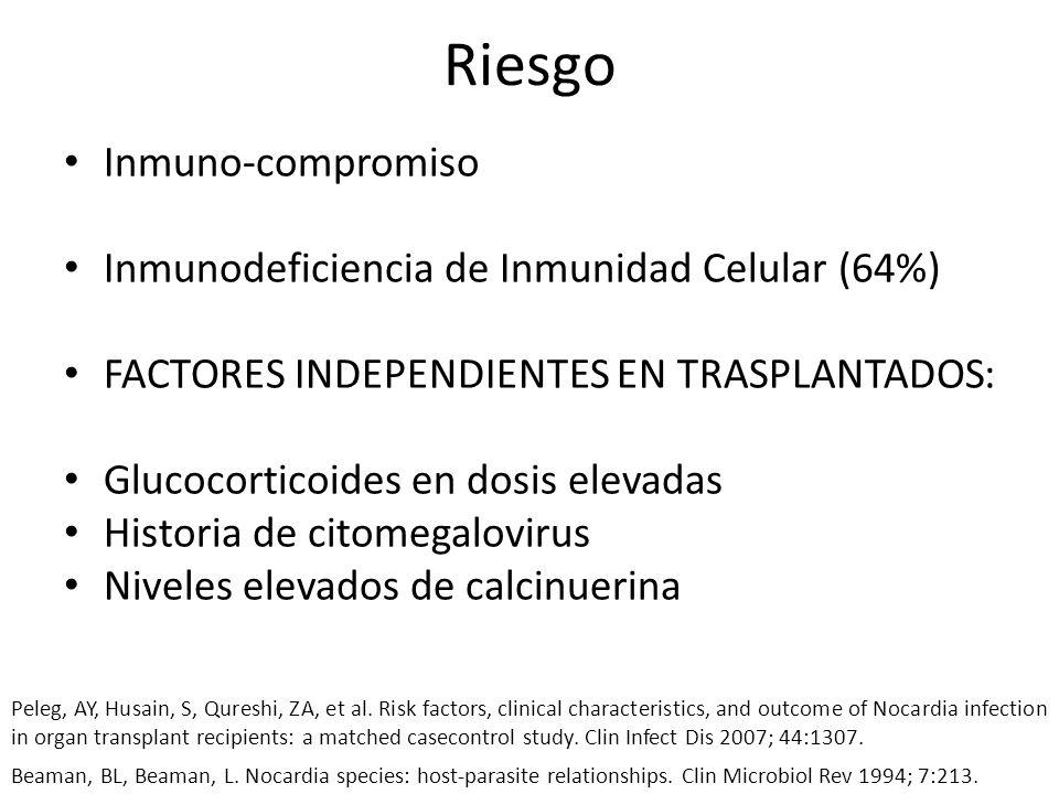 Riesgo Inmuno-compromiso Inmunodeficiencia de Inmunidad Celular (64%)