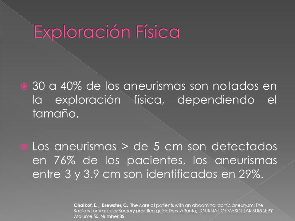 Exploración Física 30 a 40% de los aneurismas son notados en la exploración física, dependiendo el tamaño.