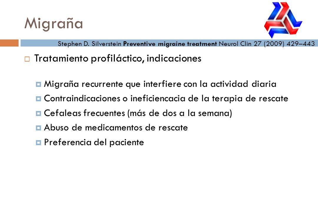 Migraña Tratamiento profiláctico, indicaciones