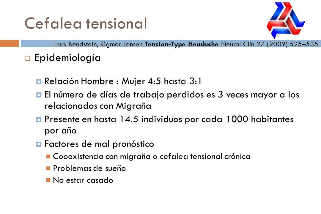 Cefalea tensional Epidemiología Relación Hombre : Mujer 4:5 hasta 3:1