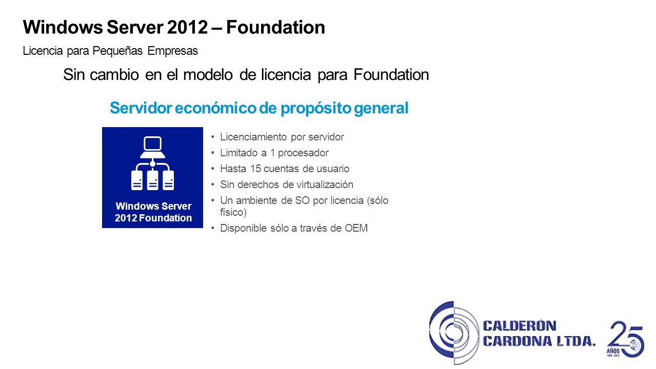 Servidor económico de propósito general Windows Server 2012 Foundation