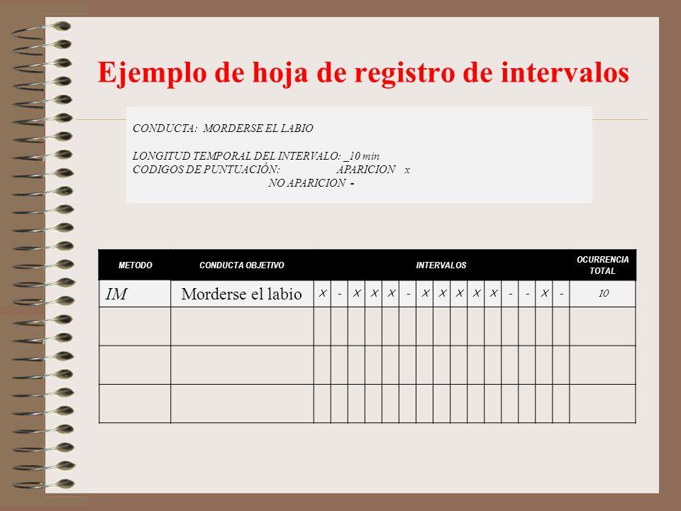 Ejemplo de hoja de registro de intervalos