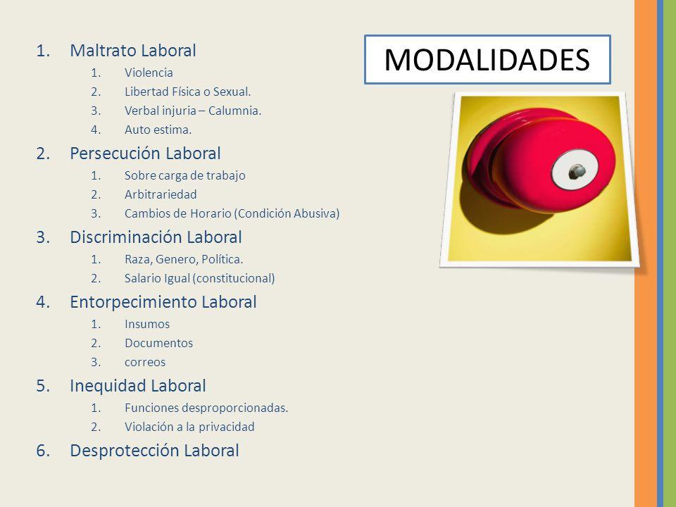 MODALIDADES Maltrato Laboral Persecución Laboral