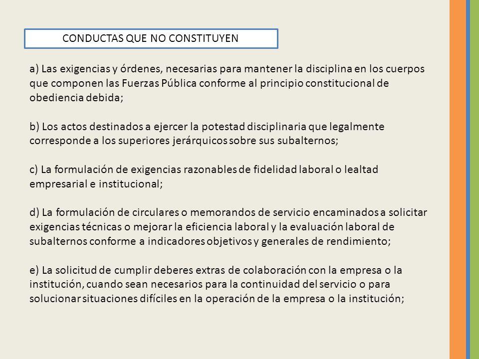CONDUCTAS QUE NO CONSTITUYEN