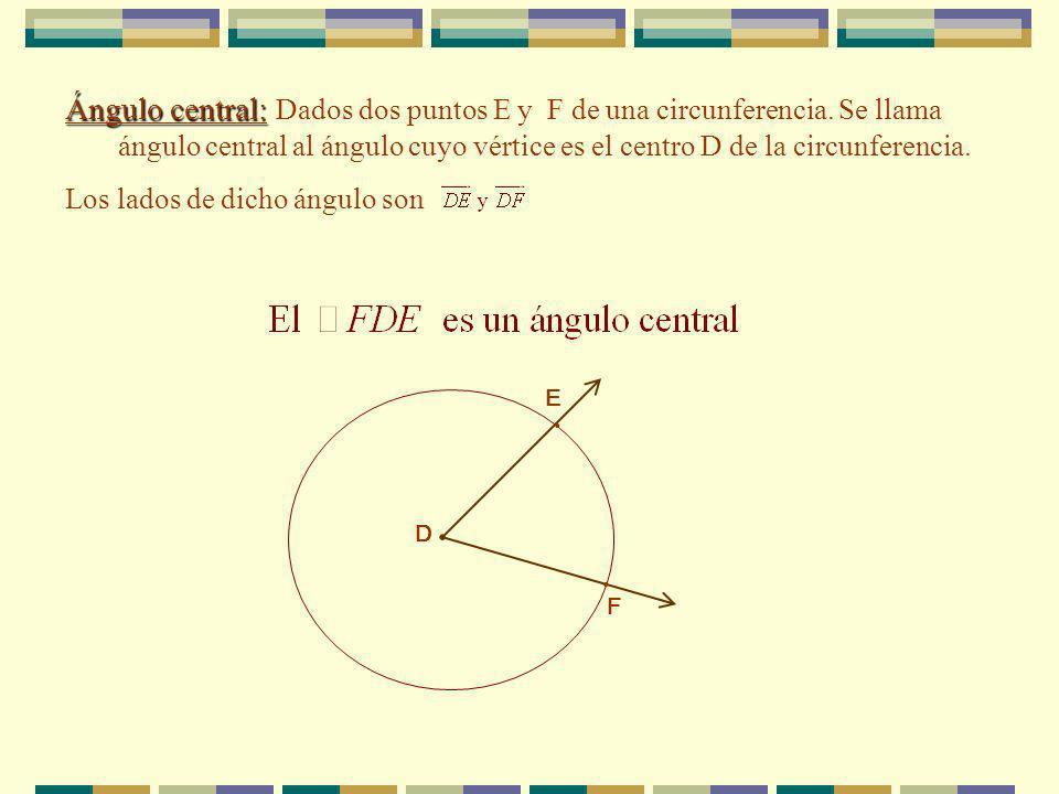 Ángulo central: Dados dos puntos E y F de una circunferencia