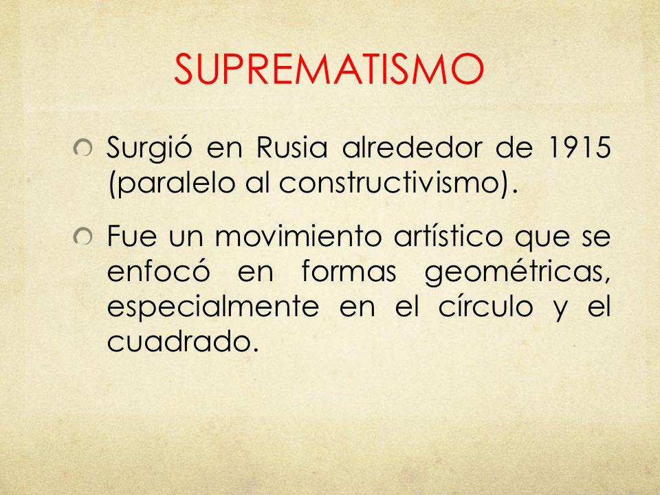 SUPREMATISMO Surgió en Rusia alrededor de 1915 (paralelo al constructivismo).