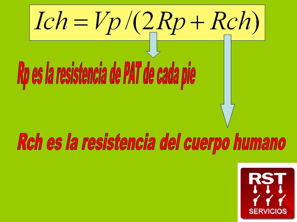 Rp es la resistencia de PAT de cada pie