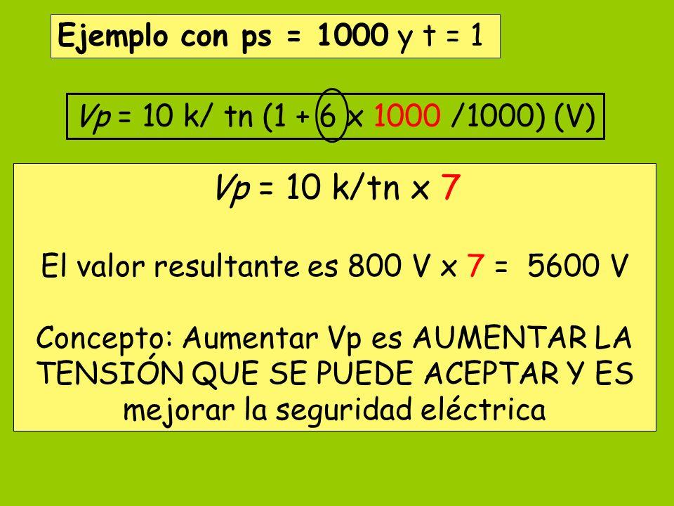 El valor resultante es 800 V x 7 = 5600 V
