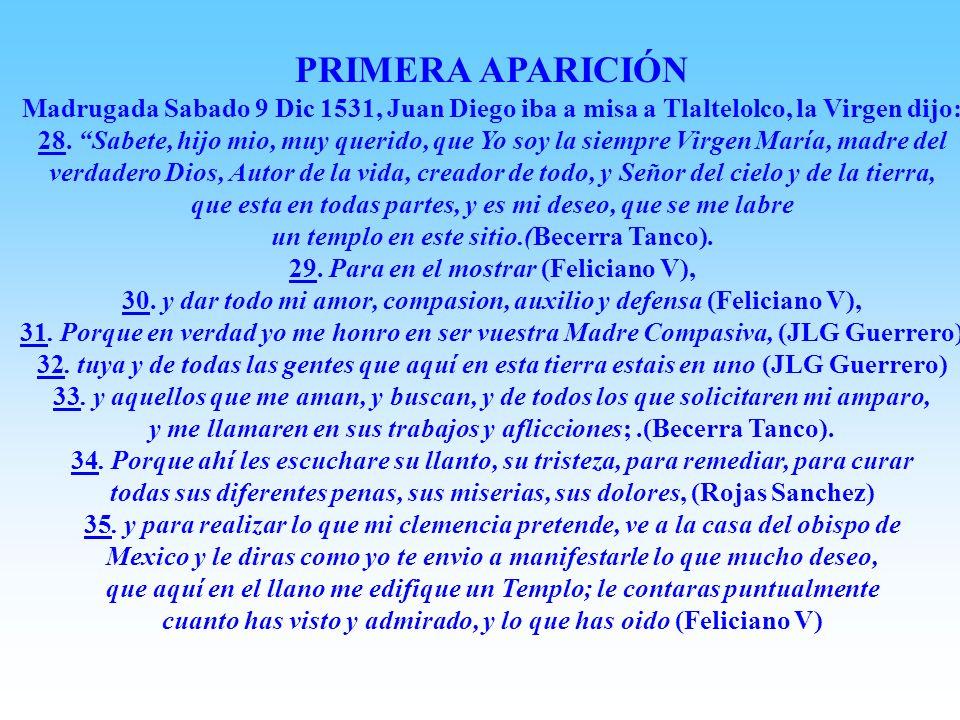 PRIMERA APARICIÓN Madrugada Sabado 9 Dic 1531, Juan Diego iba a misa a Tlaltelolco, la Virgen dijo:
