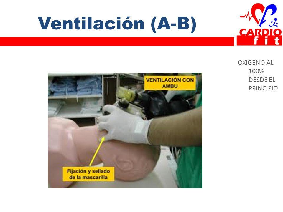 Ventilación (A-B) OXIGENO AL 100% DESDE EL PRINCIPIO