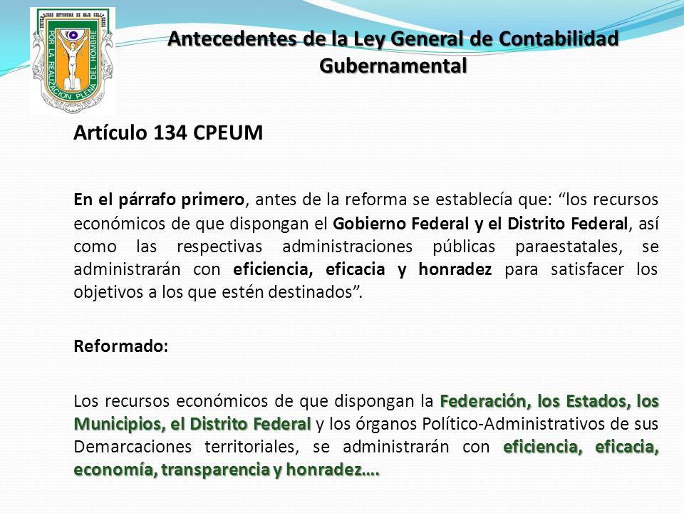 Antecedentes de la Ley General de Contabilidad Gubernamental