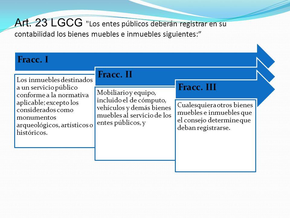 Art. 23 LGCG Los entes públicos deberán registrar en su contabilidad los bienes muebles e inmuebles siguientes: