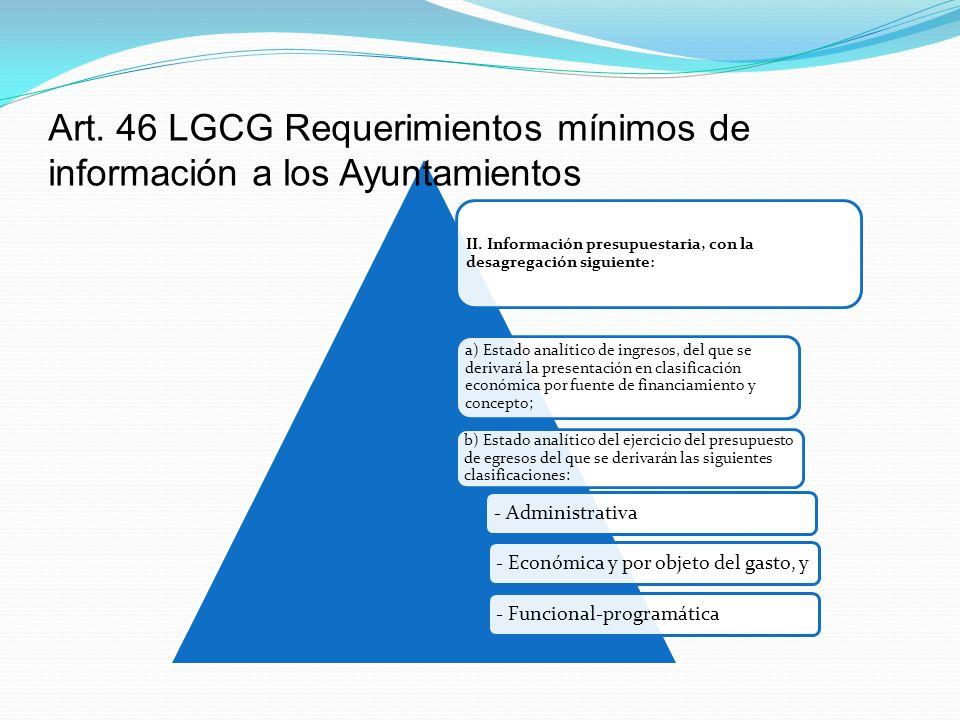 Art. 46 LGCG Requerimientos mínimos de información a los Ayuntamientos