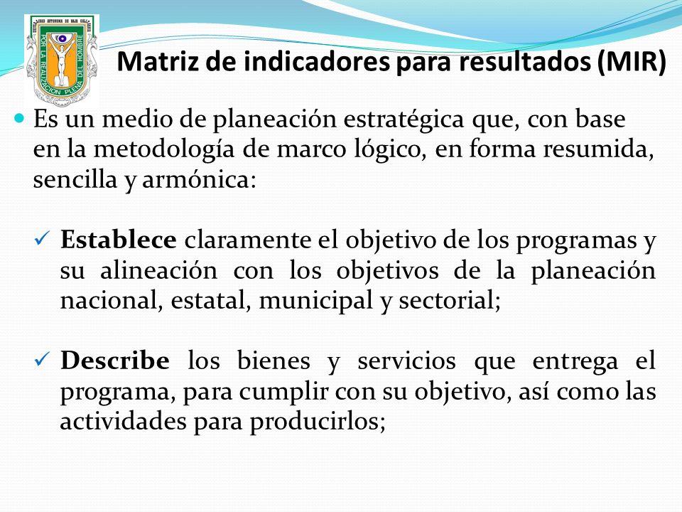 Matriz de indicadores para resultados (MIR)