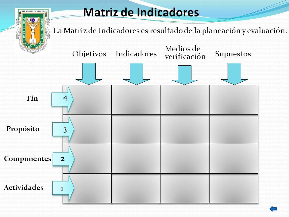 La Matriz de Indicadores es resultado de la planeación y evaluación.