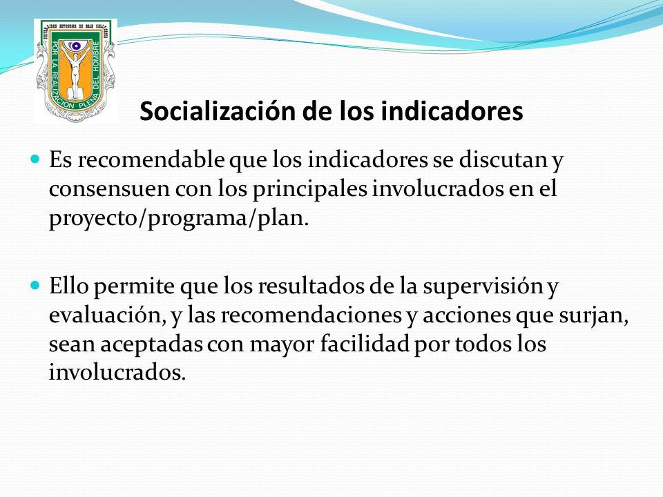 Socialización de los indicadores