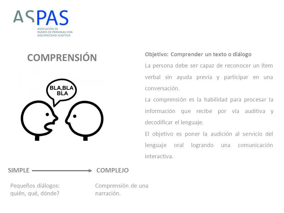 COMPRENSIÓN SIMPLE COMPLEJO Objetivo: Comprender un texto o diálogo